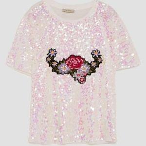 Zara Trafaluc M Pink Sequined White T-Shirt